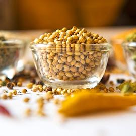 Coriander by Kunal Kumar Maurya - Food & Drink Ingredients ( dry coriander, bowl, coriander, yellow, bowls )