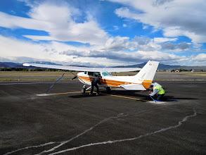 Photo: Tied-up plane