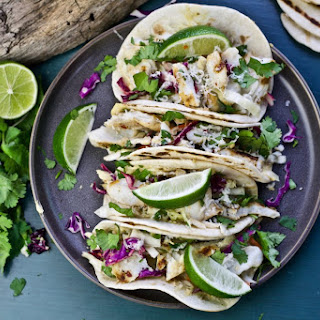 Grilled Fish Tacos with Jalapeño Hummus.