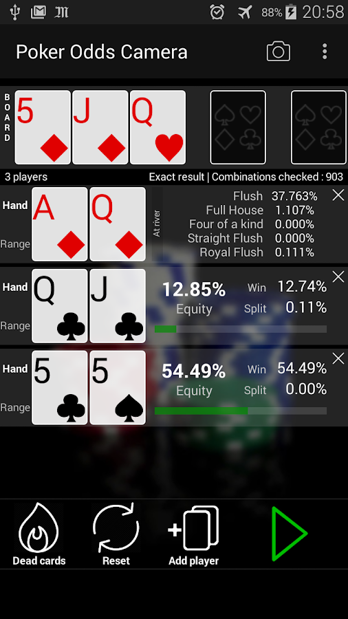 best poker odds calculator app