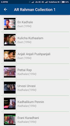 A R Rahman Tamil Hit Songs screenshots 1