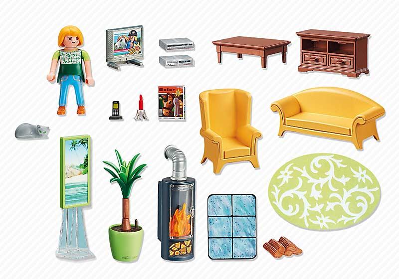 Contenido real de Playmobil® 5308 Sala de Estar con Fuego