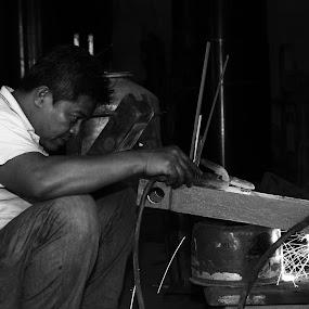 welders by Lou Sanada - People Portraits of Men
