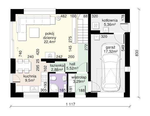 Dom przy Alabastrowej 37 - Rzut parteru