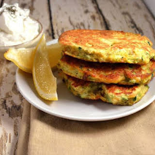 Light-As-Air Chickpea and Zucchini Fritters ~ Lemon, Herbs and Yogurt.
