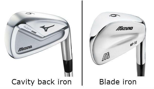 Đầu của gậy golf sắt được thiết kế dưới 2 dạng Cavity và Blade