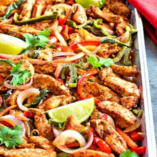 Sheet Pan Chili-Lime Chicken Fajitas.