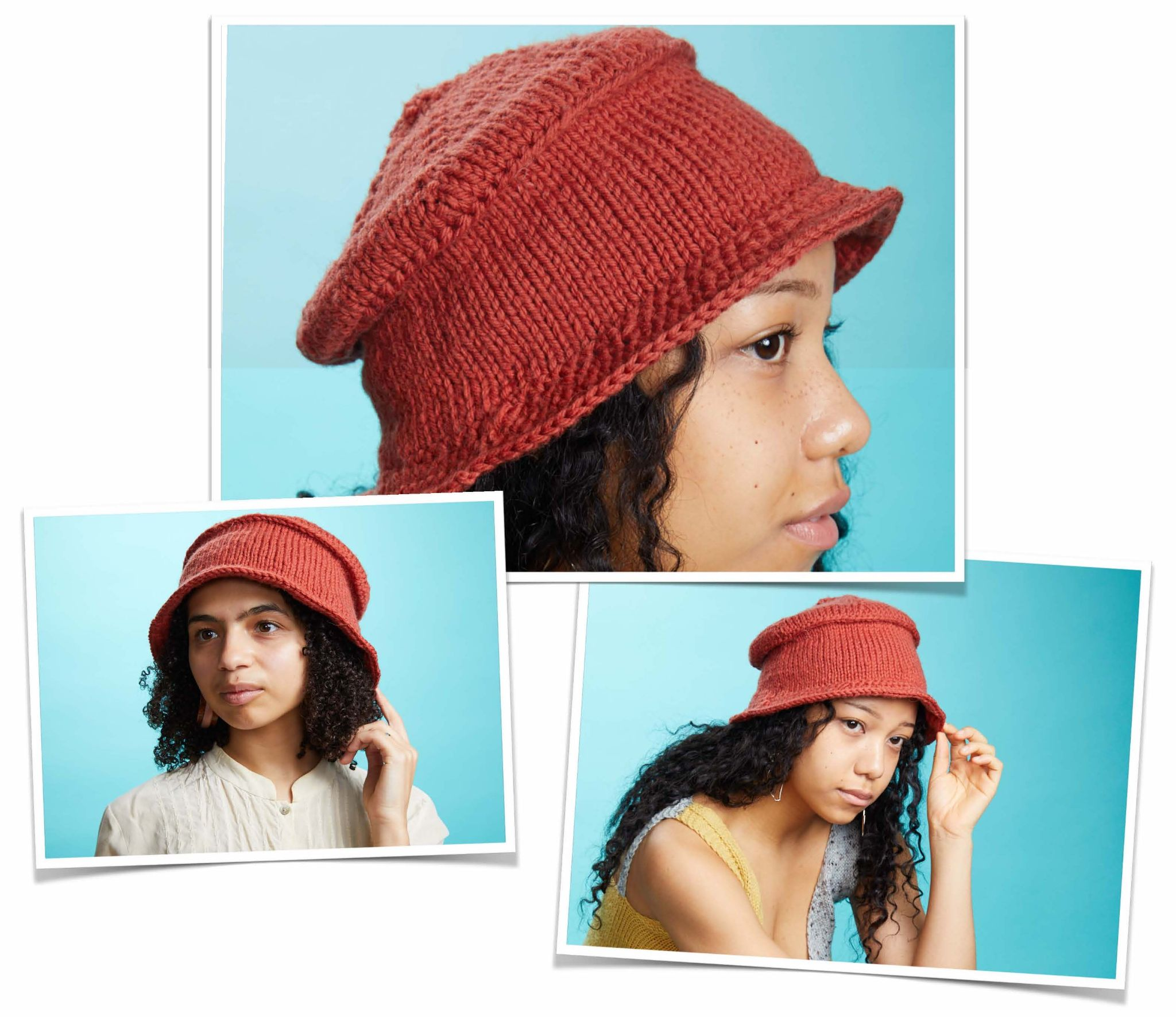 Three photos of black women wearing a handknit bucket-shaped hat in a dark coral colorway, on a turquoise background.