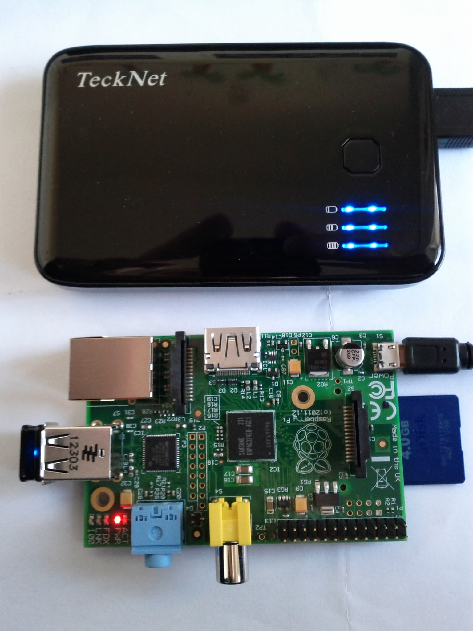 Photo: And a battery powered wireless Raspberry Pi.