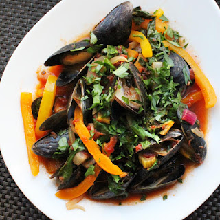 Mussels with Chard and Tomatoes.