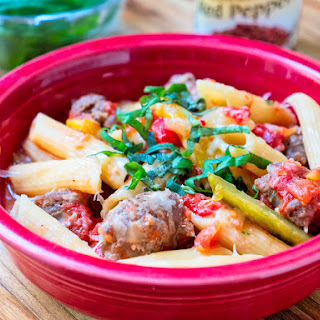 Pressure Cooker Penne with Sausage and Peppers.
