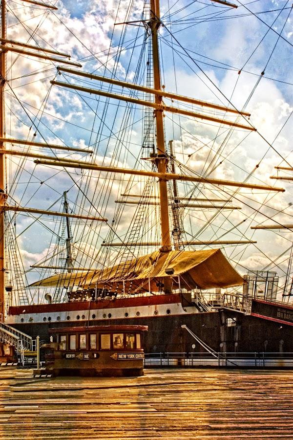 NY Harbor by Sandra Hilton Wagner - Transportation Boats ( clouds, ship, nyc, dock, boardwalk,  )