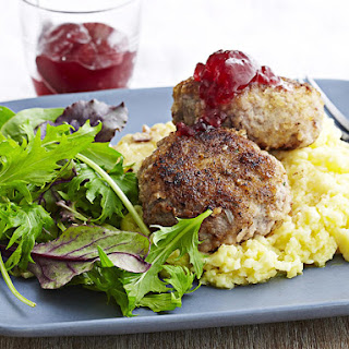 Swedish Turkey Meatballs with Lingonberry Jam and Mashed Potatoes.