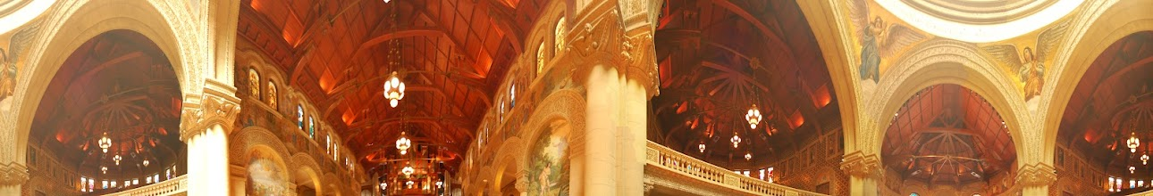 Photo: Requirement 5 (interior panorama): Also the interior of Memorial Church, but with the camera focused at a higher angle to better capture the majestic archways and art & architectural details of the ceiling. Short focal length for a wider field of view, shot at a large aperture (f/3.5) and slow shutter speed (0.7 sec) to bring in enough light. I think I like this perspective a little better because it's natural for visitors to look upwards in a church. It ended up being a little difficult to control for the various intensities of light though. Post-processing: played with contrast, photomerged, and cropped, all in Photoshop.