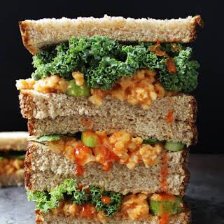 Buffalo Chickpea Salad Sandwich.