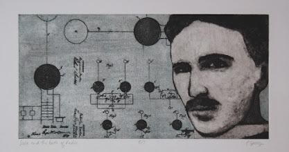 "Photo: Tesla and the Birth of Radio, 8 x 16"", intaglio"