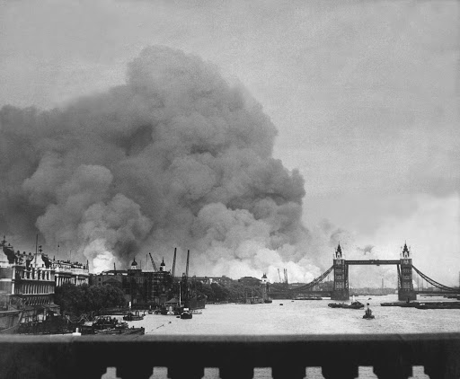 Bombs landing around Tower Bridge