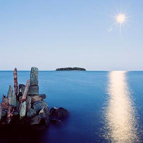 Atlantis Rising by Tim Mannle - Landscapes Travel ( sculpture, moon, art, long exposure, ocean )