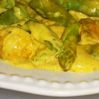 Chicken and Asparagus with Curry Sauce.