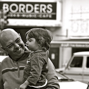 An Outing With Daddy by Victoria Eversole - Black & White Street & Candid ( black and white, son, father )