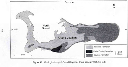 Photo: Geological map of Grand Cayman showing the Cayman Formation,  including Ironwood Forest (SW) and Hell (NW). The Cayman Formation is sharp, pinnacled dolostone rock, pitted and very rugged (phytokarst)