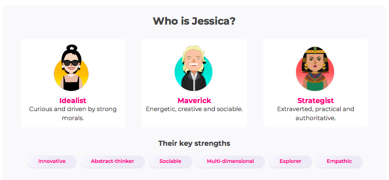quiz result with images for each career style and key strengths