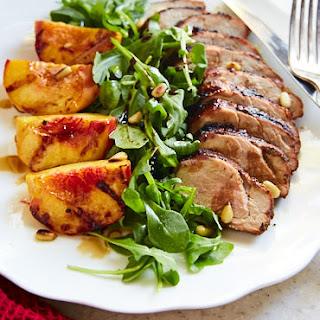 Grilled Pork Tenderloin, Peach and Arugula Salad.
