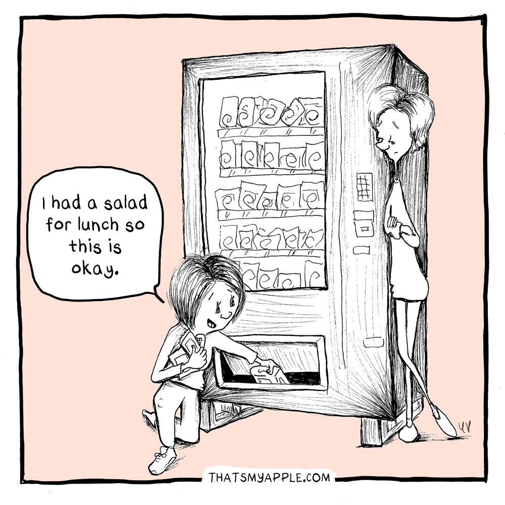 """woman kneeling and pulling snacks from vending machine while other woman looks on judging. Kneeling woman says """"I had a salad for lunch so this is okay."""""""