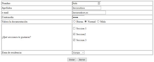 Ejemplo de formulario. DAWeb