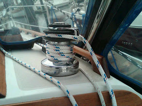 Photo: brand new mainsheet, all winches rebuilt in 2011, size 16 Lewmar self tailing winch for main sheet and halyard on house