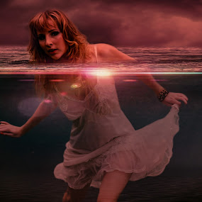 In The Sea... by Ilkgul Caylak - Digital Art Things ( cool, edited, clouds, beautiful, nice, dramatic sky, photography, photooftheday, amazing, girl, sky, awesome, woman, dramatic, editoftheday, photo editing, photoshop )
