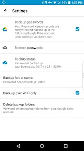 BlackBerry Password Keeper Screenshot