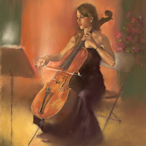 La Celista by Margaret Merry - Painting All Painting ( music, pastel, cellist, art, andalucia, musician, cello, prints, painting, almeria, spain, drawing )