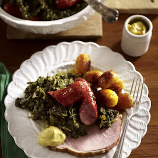 Smoked Ham and German Sausage with Kale and Potatoes.