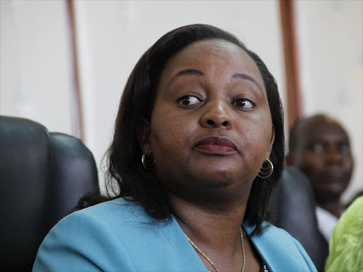 Former Devolution CS Anne Waiguru under whose watch the NYS scandle happened./File