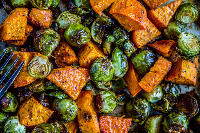 Roasted Brussels Sprouts, Sweet Potatoes And Bacon Recipe — Dishmaps