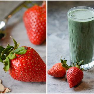 Strawberry Almond Green Superfood Smoothie.