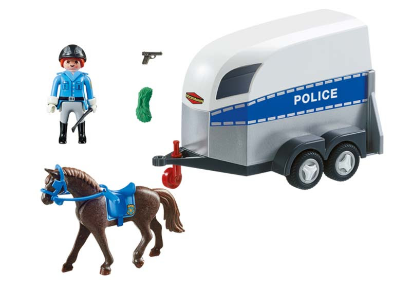 Contenido de Playmobil® 6922 Policía con Caballo y Remolque