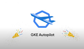 GKE Autopilot icon with celebratory streamers