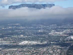 Photo: Table Mountain over Cape Town from airplane