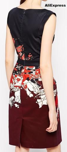 Vestido ajustado con tapa de pliegue en la abertura de la parte inferior de la falda