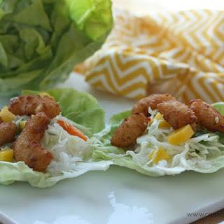 Spicy Honey Popcorn Shrimp Lettuce Wraps