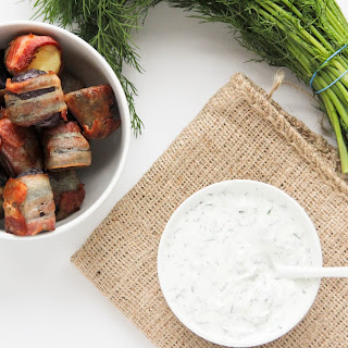 Bacon-Wrapped Potatoes with Horseradish Dill Dip