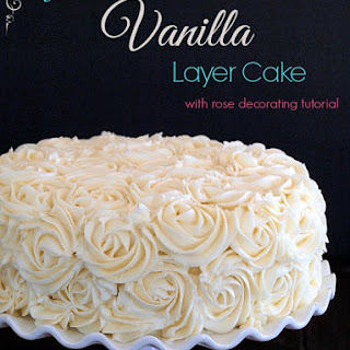 Gluten Free Vanilla Layer Cake {with rose decorating tutorial}