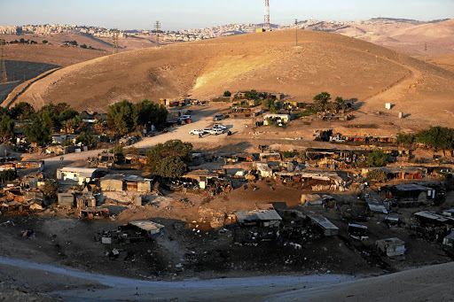 A general view of the main part of the Palestinian Bedouin encampment of Khan al-Ahmar, which Israel plans to demolish, in the occupied West Bank. Picture taken on September 11 2018. Picture: REUTERS/MOHAMAD TOROKMAN