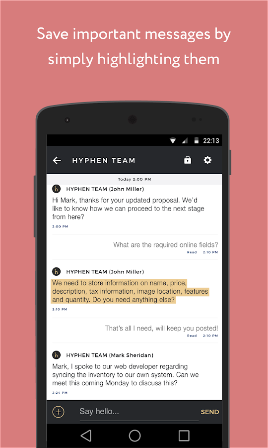 Hyphen - Team Messaging- screenshot