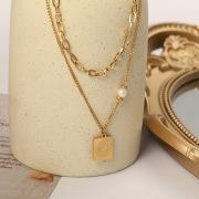Titanium Steel Double-Layer Pearl Necklace Colorfast Niche Design Female Choker Letter Square Pendant Supply Wholesale