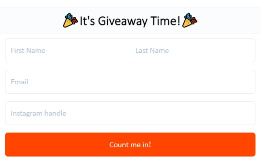 Instagram giveaways are used for growing Instagram email database of followers.