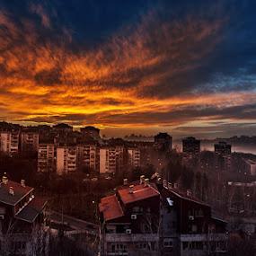 Miljakovac by Bojan Dzodan - City,  Street & Park  Skylines ( sky, sunset, wather, sun, city )