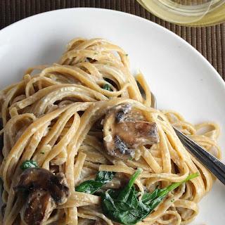 Lightened Creamy Mushroom Linguine with Spinach.